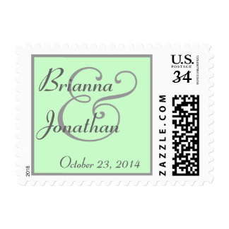 MINT GREEN and GREY Bride and Groom Wedding Postage