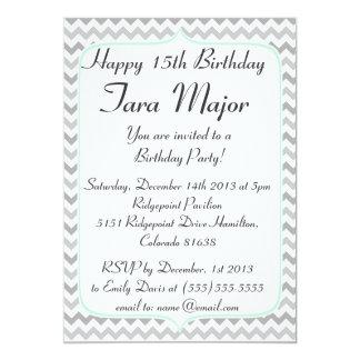 Mint Green and Grey Chevron Birthday Invitation
