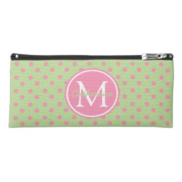 Professional Business Mint Green and Happy Pink Polka Dot Monogram Pencil Case