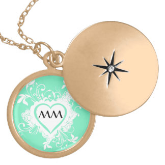 Mint green and heart  monogram gold plated necklace