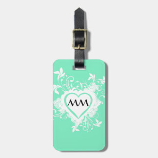 Mint green and heart monogram tag for luggage