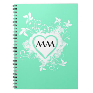 Mint green and heart  monogram notebook