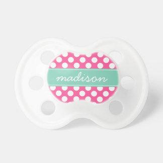Mint Green and Hot Pink Polka Dots Custom Monogram Pacifier