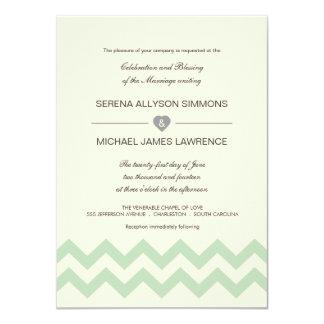 Mint Green and Ivory Chevron Wedding Invitations