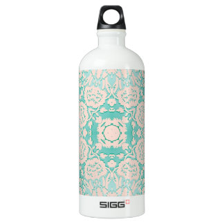Mint Green and Ivory Embossed Damask Pattern Aluminum Water Bottle
