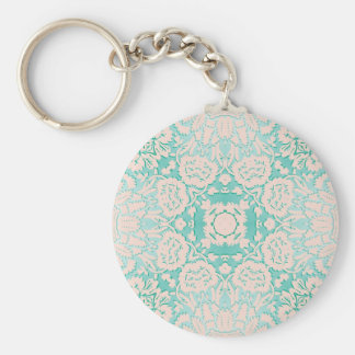 Mint Green and Ivory Embossed Damask Pattern Basic Round Button Keychain