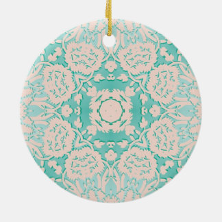 Mint Green and Ivory Embossed Damask Pattern Ceramic Ornament