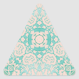Mint Green and Ivory Embossed Damask Pattern Triangle Sticker