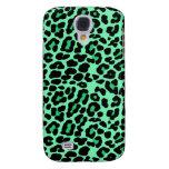 Mint Green and Jade Leopard Print Pattern Galaxy S4 Case