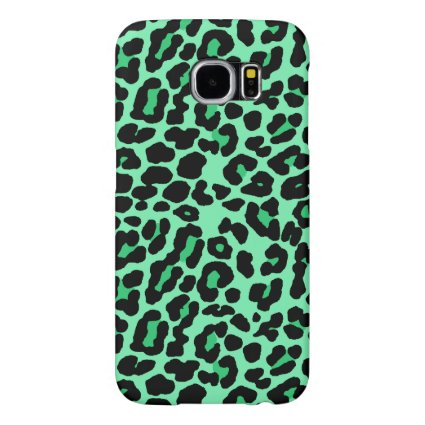 Mint Green and Jade Leopard Print Pattern Samsung Galaxy S6 Cases