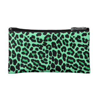 Mint Green and Jade Leopard Print Pattern Makeup Bag