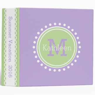 Mint Green and Lavender Personalized Monogram Binder