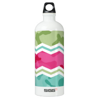 Mint, Green, and Magenta Pink Camo Chevron Aluminum Water Bottle