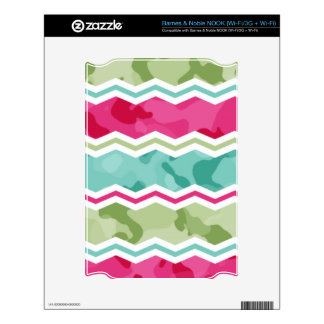 Mint, Green, and Magenta Pink Camo Chevron Skins For NOOK