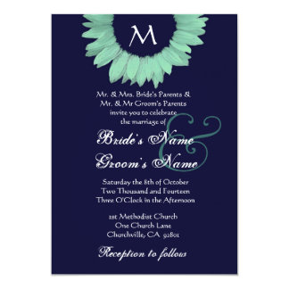 Mint Green and Midnight Colored Sunflower Wedding Invite