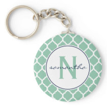 Mint Green and Navy Blue Quatrefoil Monogram Keychain