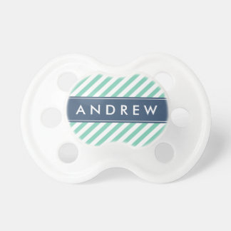 Mint Green and Navy Blue Stripes Custom Monogram Pacifier