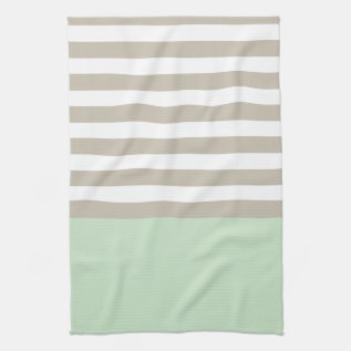Mint Green And Neutral Gray Striped Pattern Hand Towel at Zazzle