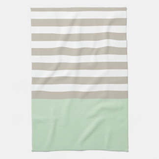 Mint Green and Neutral Gray Striped Pattern Hand Towel