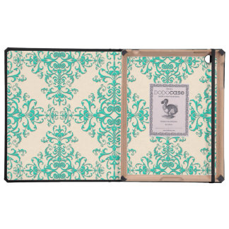 Mint Green and Off White Damask Style Pattern iPad Cover