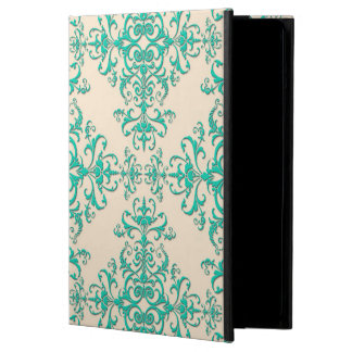Mint Green and Off White Damask Style Pattern iPad Air Covers