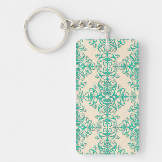 Mint Green and Off White Damask Style Pattern Keychain