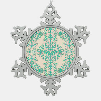 Mint Green and Off White Damask Style Pattern Ornaments