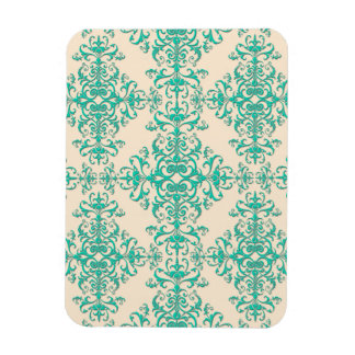 Mint Green and Off White Damask Style Pattern Rectangular Photo Magnet