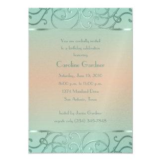 Mint Green and Peach Filigree Border Birthday Card