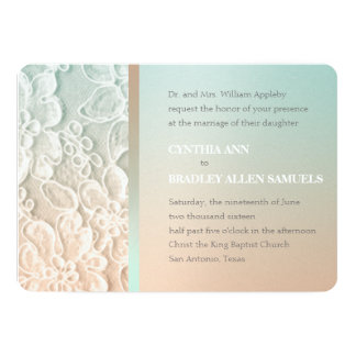 Mint Green and Peach Lace Wedding Custom Invite