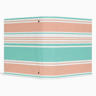 Mint Green and Peach Modern Stripes 3 Ring Binder