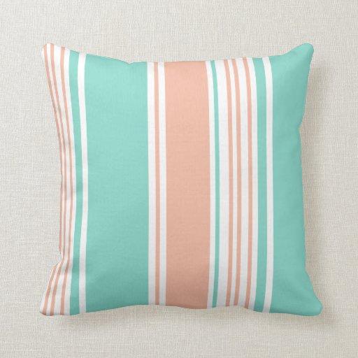 Mint Green and Peach Modern Stripes Throw Pillows Zazzle