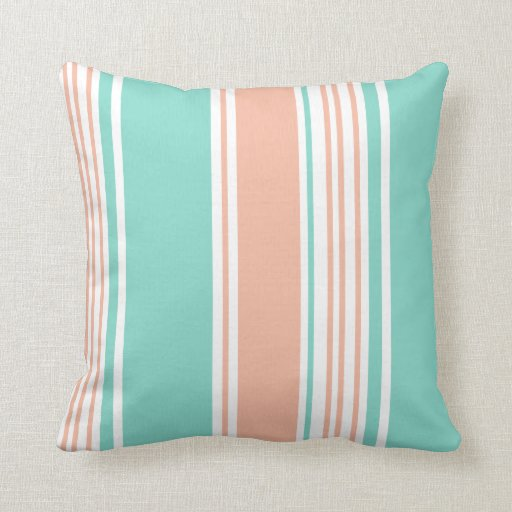 Modern Green Pillow : Mint Green and Peach Modern Stripes Throw Pillows Zazzle