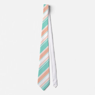 Mint Green and Peach Modern Stripes Tie