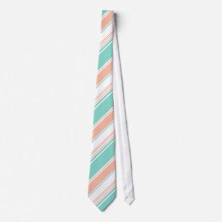 Mint Green and Peach Modern Stripes Tie