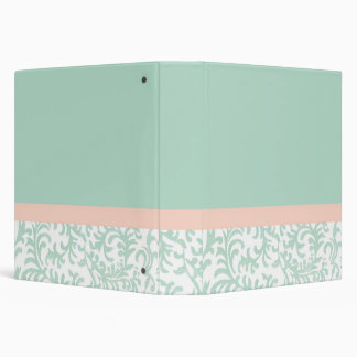 Mint Green and Peach Pink Floral Pattern Vinyl Binders