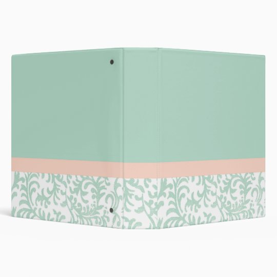 Mint Green and Peach Pink Floral Pattern Binder