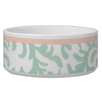 Mint Green and Peach Pink Floral Pattern Bowl