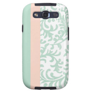 Mint Green and Peach Pink Floral Pattern Galaxy S3 Covers