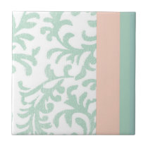 Mint Green and Peach Pink Floral Pattern Ceramic Tile