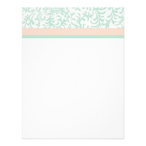 Mint Green and Peach Pink Floral Pattern Full Color Flyer