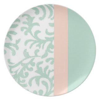 Mint Green and Peach Pink Floral Pattern Melamine Plate