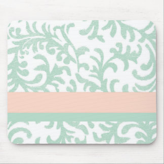 Mint Green and Peach Pink Floral Pattern Mouse Pad