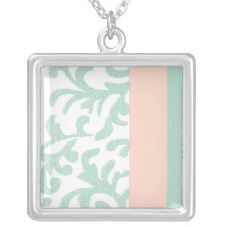 Mint Green and Peach Pink Floral Pattern Necklace