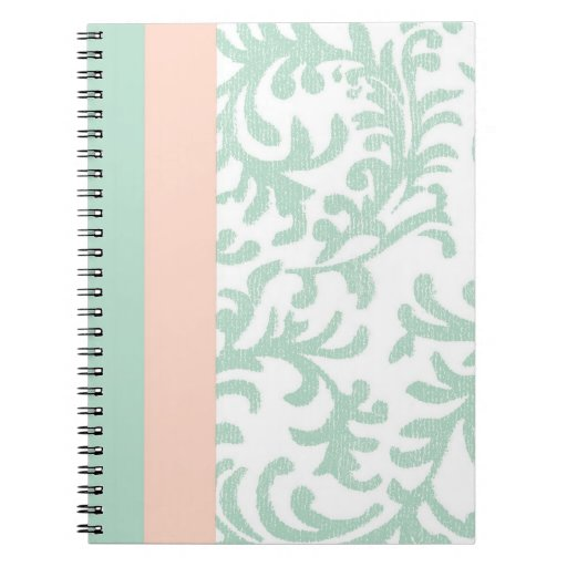 Mint Green and Peach Pink Floral Pattern Notebook