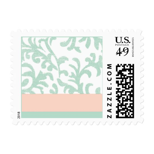 Mint Green and Peach Pink Floral Pattern Postage Stamp