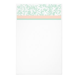 Mint Green and Peach Pink Floral Pattern Stationery