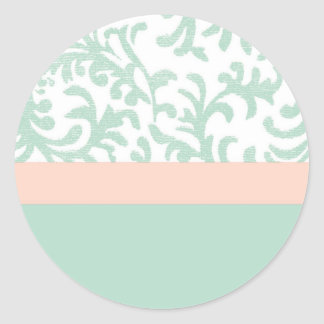 Mint Green and Peach Pink Floral Pattern Round Sticker