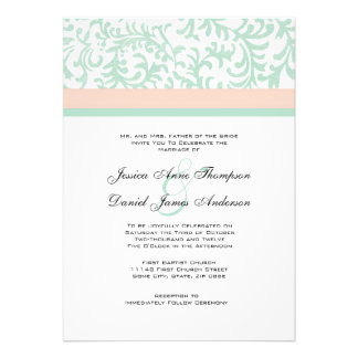Mint Green and Peach Pink Wedding Invitation
