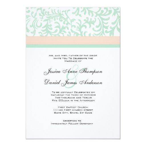 Mint Green and Peach Pink Wedding Invitation